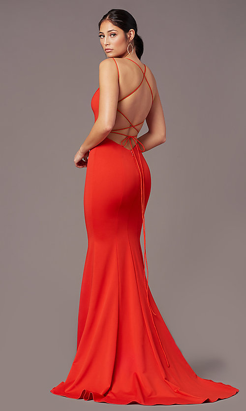 Image of corset-tie-back long formal prom dress by PromGirl. Style: PG-B2031 Front Image