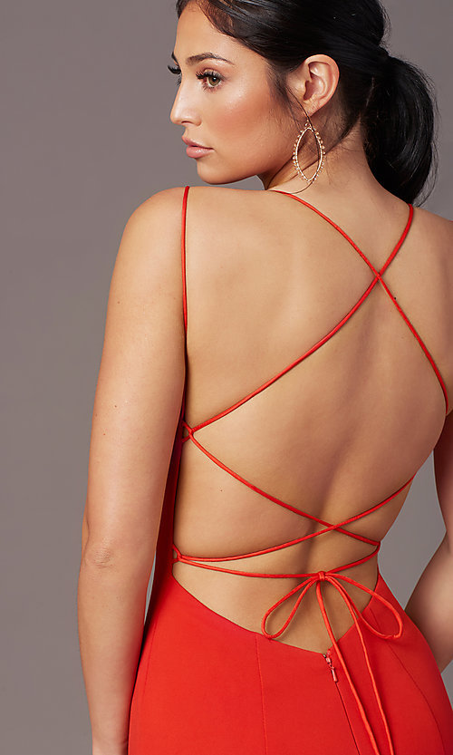 Image of corset-tie-back long formal prom dress by PromGirl. Style: PG-B2031 Detail Image 1
