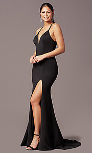 Image of sheath-style long v-neck prom dress by PromGirl. Style: PG-B2033 Detail Image 3