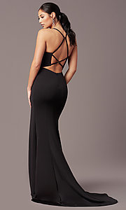 Image of sheath-style long v-neck prom dress by PromGirl. Style: PG-B2033 Detail Image 4