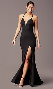 Image of sheath-style long v-neck prom dress by PromGirl. Style: PG-B2033 Detail Image 6