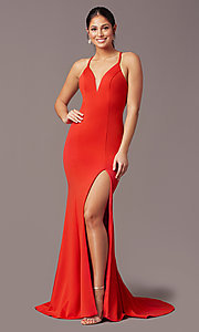 Image of sheath-style long v-neck prom dress by PromGirl. Style: PG-B2033 Detail Image 2
