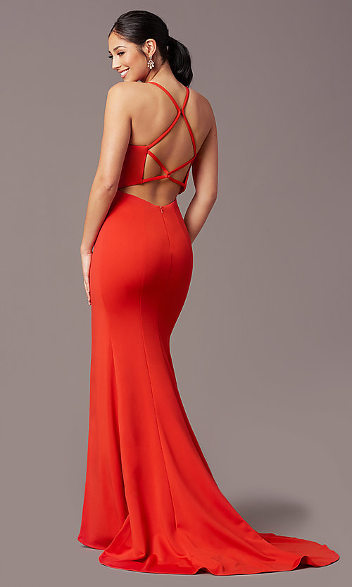 Image of sheath-style long v-neck prom dress by PromGirl. Style: PG-B2033 Front Image