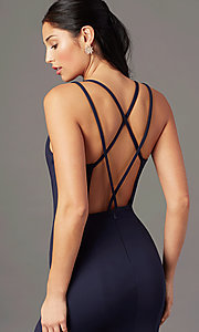 Image of PromGirl long simple prom dress with open back. Style: PG-B2034 Detail Image 5