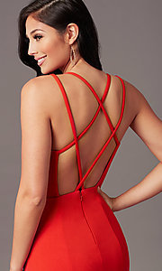 Image of PromGirl long simple prom dress with open back. Style: PG-B2034 Detail Image 1