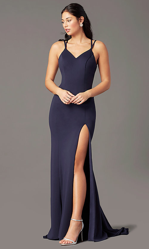 Image of PromGirl long simple prom dress with open back. Style: PG-B2034 Detail Image 3