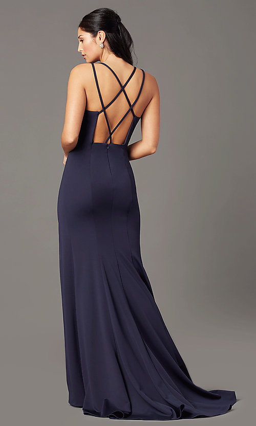 Image of PromGirl long simple prom dress with open back. Style: PG-B2034 Detail Image 4