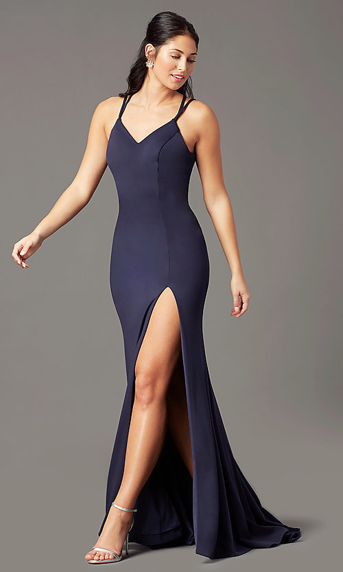 Image of PromGirl long simple prom dress with open back. Style: PG-B2034 Detail Image 6