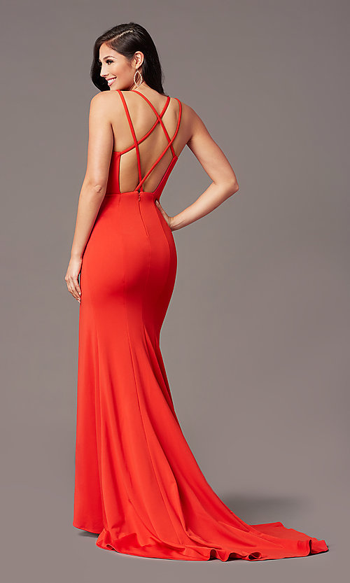 Image of PromGirl long simple prom dress with open back. Style: PG-B2034 Front Image
