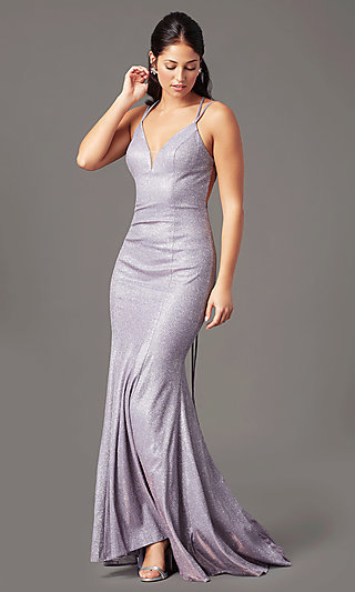 Open-Back Glitter-Knit Long Prom Dress by PromGirl