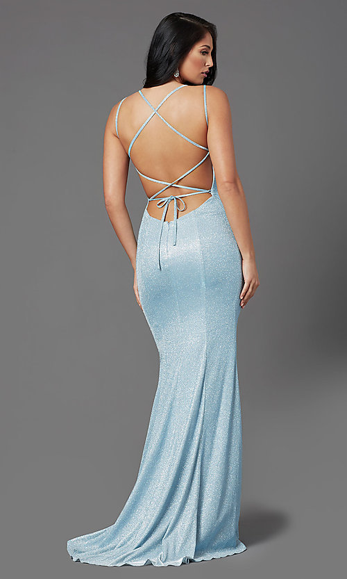 Image of open-back glitter-knit long prom dress by PromGirl. Style: PG-B2037 Detail Image 3