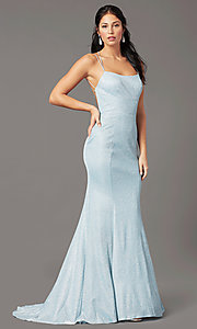 Image of open-back corset long prom dress by PromGirl. Style: PG-B2038 Detail Image 2