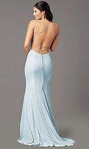 Image of open-back corset long prom dress by PromGirl. Style: PG-B2038 Detail Image 3