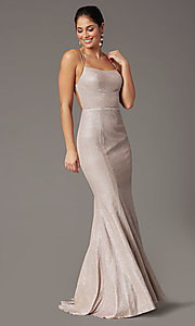 Image of open-back corset long prom dress by PromGirl. Style: PG-B2038 Detail Image 7