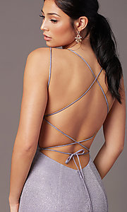 Image of open-back corset long prom dress by PromGirl. Style: PG-B2038 Detail Image 1