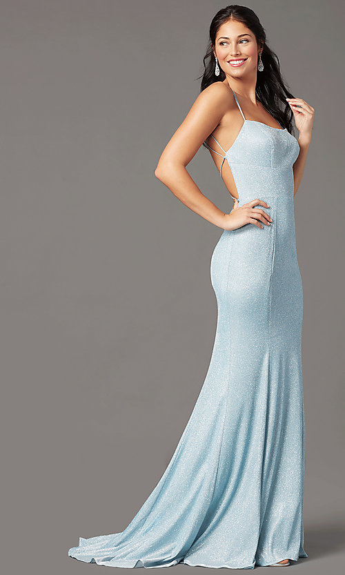 Image of open-back corset long prom dress by PromGirl. Style: PG-B2038 Detail Image 4
