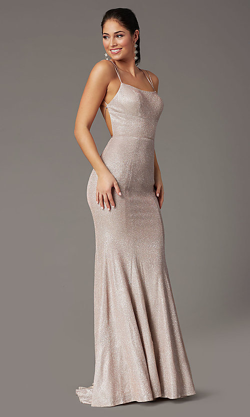 Image of open-back corset long prom dress by PromGirl. Style: PG-B2038 Detail Image 6
