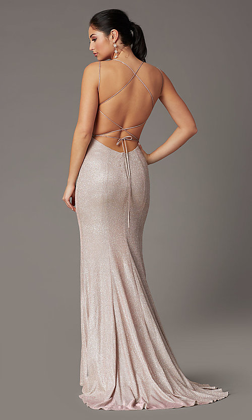 Image of open-back corset long prom dress by PromGirl. Style: PG-B2038 Detail Image 5