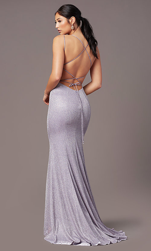 Image of open-back corset long prom dress by PromGirl. Style: PG-B2038 Front Image