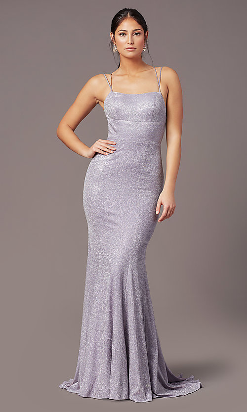 Image of open-back corset long prom dress by PromGirl. Style: PG-B2038 Back Image