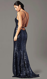 Image of long sequin v-neck prom dress by PromGirl.  Style: PG-B2039 Back Image