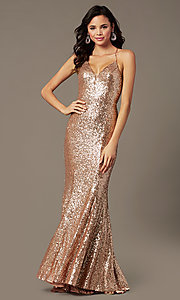 Image of long sequin v-neck prom dress by PromGirl.  Style: PG-B2039 Detail Image 6