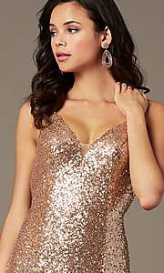 Image of long sequin v-neck prom dress by PromGirl.  Style: PG-B2039 Detail Image 7