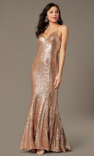 Long Sequin V-Neck Prom Dress by PromGirl