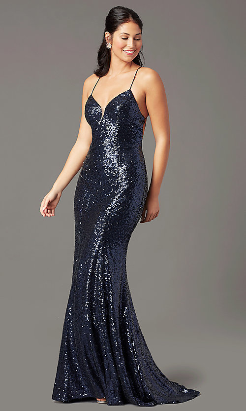 Image of long sequin v-neck prom dress by PromGirl.  Style: PG-B2039 Front Image