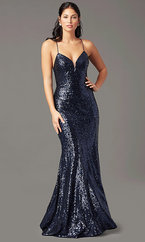 Image of long sequin v-neck prom dress by PromGirl.  Style: PG-B2039 Detail Image 1