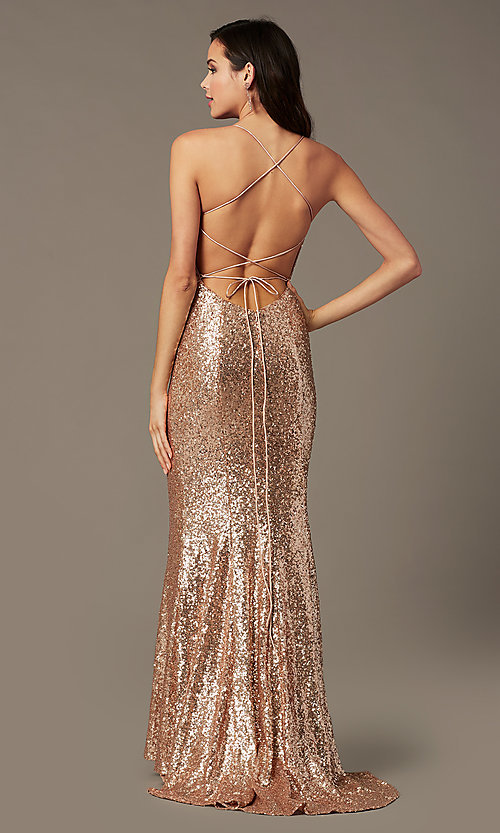 Image of long sequin v-neck prom dress by PromGirl.  Style: PG-B2039 Detail Image 4