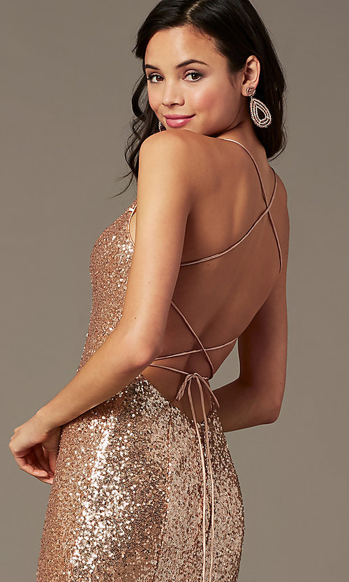 Image of long sequin v-neck prom dress by PromGirl.  Style: PG-B2039 Detail Image 5