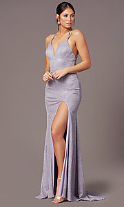 Image of PromGirl glitter metallic long formal prom dress. Style: PG-B2040 Front Image