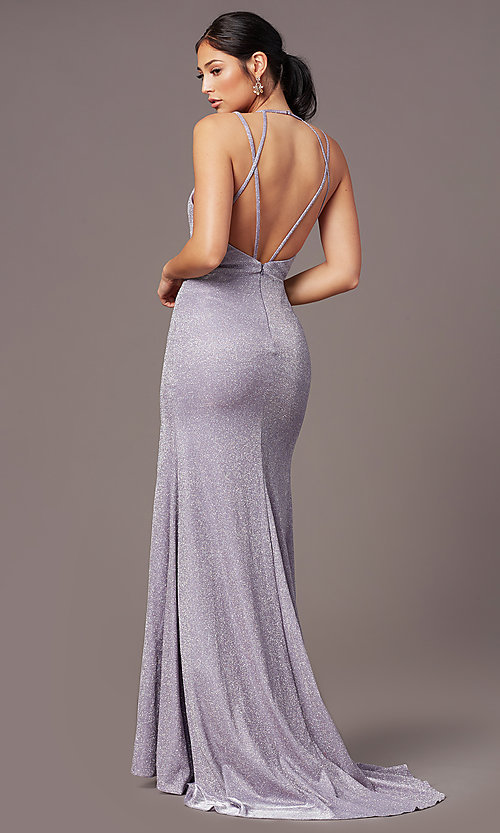 Image of PromGirl glitter metallic long formal prom dress. Style: PG-B2040 Back Image