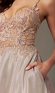 Image of glitter-knit lace-bodice prom dress by PromGirl. Style: PG-B2041 Detail Image 1