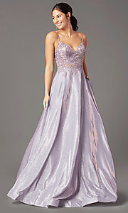Image of glitter-knit lace-bodice prom dress by PromGirl. Style: PG-B2041 Detail Image 2