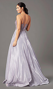 Image of glitter-knit lace-bodice prom dress by PromGirl. Style: PG-B2041 Detail Image 3