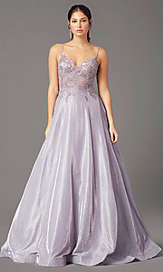 Image of glitter-knit lace-bodice prom dress by PromGirl. Style: PG-B2041 Detail Image 5