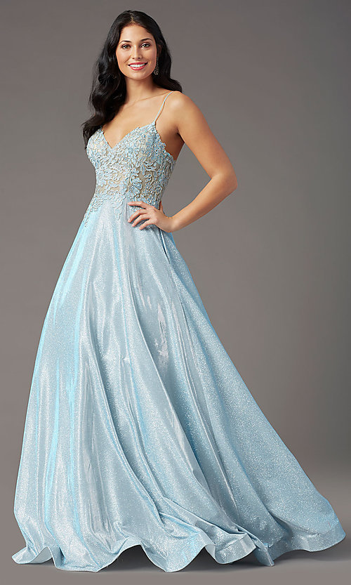 Image of glitter-knit lace-bodice prom dress by PromGirl. Style: PG-B2041 Detail Image 6