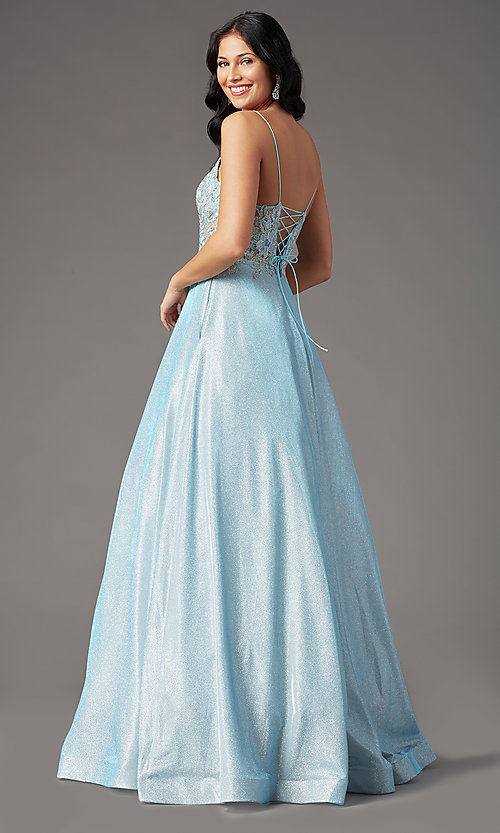 Image of glitter-knit lace-bodice prom dress by PromGirl. Style: PG-B2041 Detail Image 7