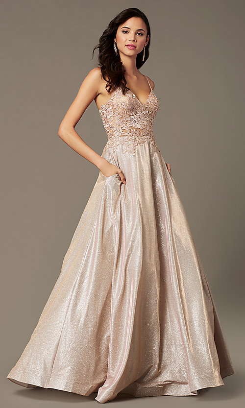 Image of glitter-knit lace-bodice prom dress by PromGirl. Style: PG-B2041 Front Image