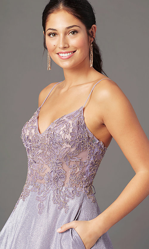Image of glitter-knit lace-bodice prom dress by PromGirl. Style: PG-B2041 Detail Image 4