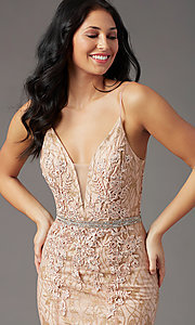 Image of open-back long glitter-lace prom dress by PromGirl. Style: PG-H2003 Detail Image 1