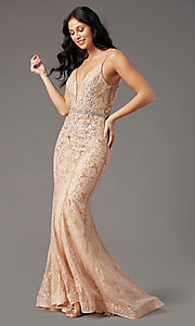 Image of open-back long glitter-lace prom dress by PromGirl. Style: PG-H2003 Detail Image 2