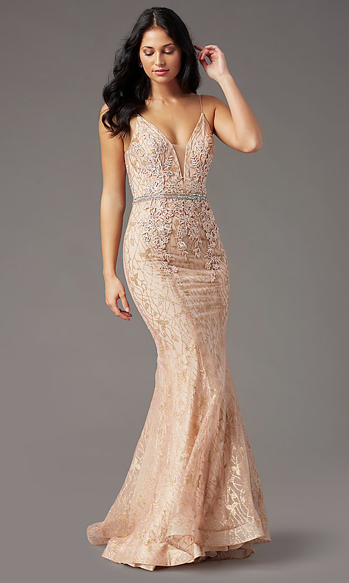 Image of open-back long glitter-lace prom dress by PromGirl. Style: PG-H2003 Front Image
