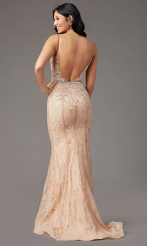 Image of open-back long glitter-lace prom dress by PromGirl. Style: PG-H2003 Back Image