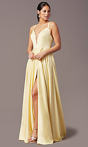 Image of PromGirl open-back long classic formal prom dress. Style: PG-F2002 Front Image