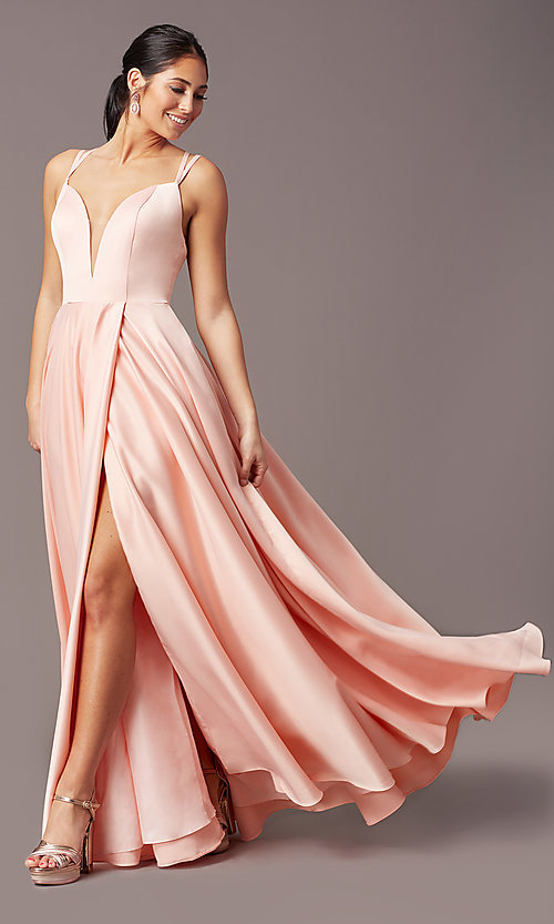 Image of PromGirl open-back long classic formal prom dress. Style: PG-F2002 Detail Image 3