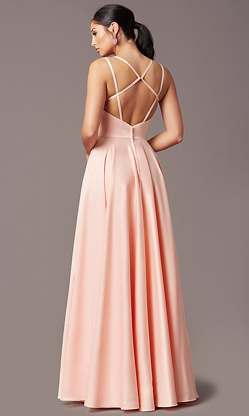 Image of PromGirl open-back long classic formal prom dress. Style: PG-F2002 Detail Image 4