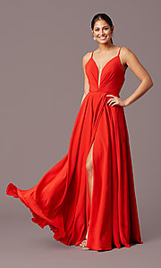 Image of long formal deep-v-neck prom dress by PromGirl. Style: PG-F2003 Detail Image 3
